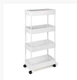 4 Tier Storage Cart, Mobile Shelving with 4 storage Baskets,Utility Ca