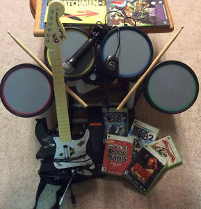 Rockband Bundle! Guitar, Drums, Mic and 5 Games!