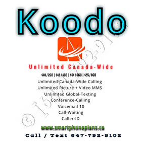 Koodo $56/8GB LTE Unlimited Talk Text Plan Deal Canada-Wide