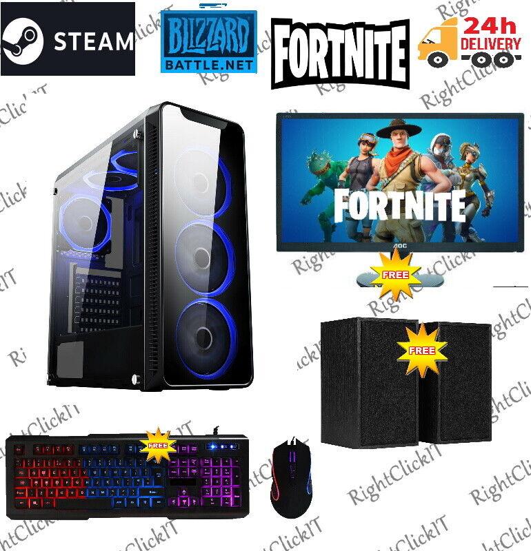 Computer Games - Fast Gaming PC Computer Bundle Intel Quad Core i7 16GB 1TB Win10 GTX 1650 6 Fans