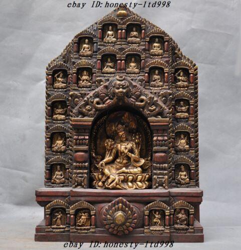 Tibet Buddhism Temple Old Wood Inlay Bronze Green Tara Buddha Set Shrines Statue