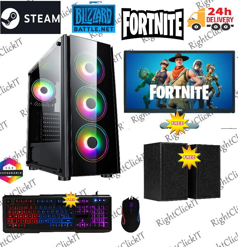 Computer Games - Fast Gaming PC Computer Bundle Intel Quad Core i7 16GB 1TB Win10 4GB GTX1650