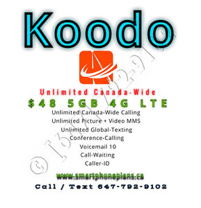 $48 Koodo Mobile 5GB LTE Unlimited Talk Text Plan Deal + $50 FRE