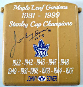 1A- JOHNNY BOWER AUTO/SIGNED MAPLE LEAF GARDENS GOLD SEAT W/COA