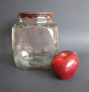 1930s Large Glass Hoosier Jar with Red Metal Lid