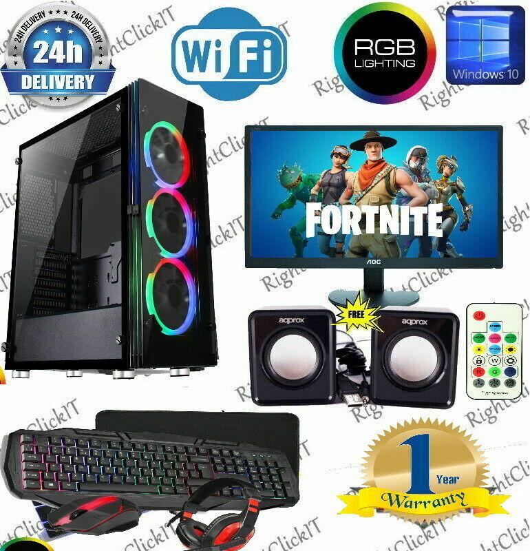 Computer Games - Fast Gaming PC Computer Bundle Monitor Quad Core i5 16GB 1TB Win 10 2GB GT710