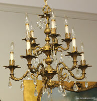 Antique Two Tier 10 Candles Brass Chandelier