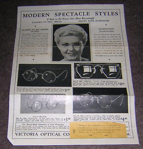 VINTAGE GLASSES AD VICTORIA OPTICAL TORONTO