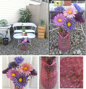Cheerful Polka Dots! Pink, Purple Flower Arrangement in Vase