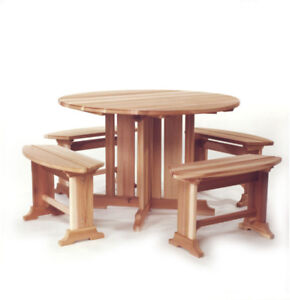 Round Cedar Picnic Table with Benches - RT45