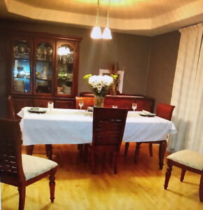 Dining room table, chairs, buffet and hutch, AND serving table
