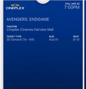 Two Avengers: End Game tickets on April 25th, 7:00pm