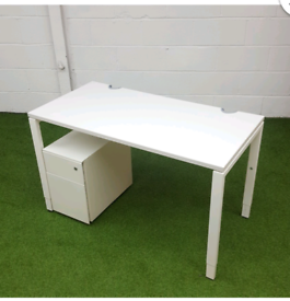 OFFICE FURNITURE SMALL WHITE DESK HEIGHT ADJUSTABLE