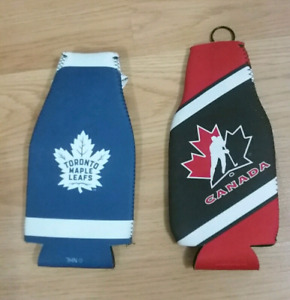 Toronto Maple Leaf and team Canada koozie for bottle.