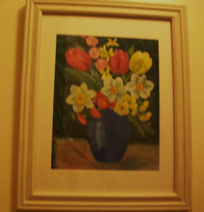 Framed Vase with flowers oil painting on silk Cambridge Kitchener Area image 3