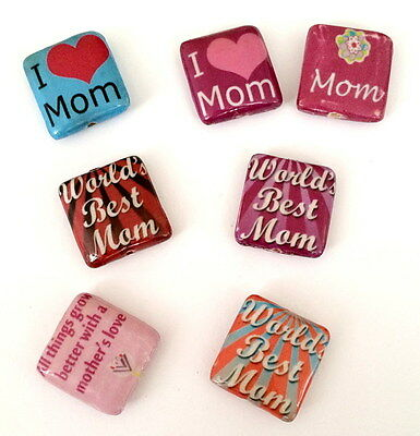 Decoupage Wood Bead Best Mom Love Mom Pattern Square 20 x20mm 7pcs
