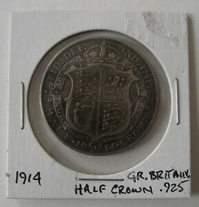 1914 Great Britain 1/2 Crown Silver Coin .925 Sterling Peterborough Peterborough Area image 1