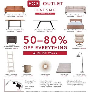 EQ3 Outlet - home furnishings - massive tent sale!