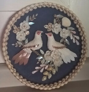 Seashell Wall Hanging Art Picture of Birds and Flowers