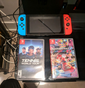 New Nintendo Switch with Tennis World and Mario Kart