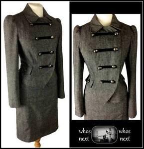 05 F&F 8 10 vintage Military style grey tweed wool skirt suit ladies womans
