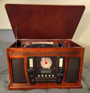 Vinyl Record/CD/Cassette Player + Radio, AUX in, and Recorder