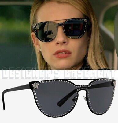VERSACE black VE2177 1009/87 gunmetal studs GLAM MEDUSA logo Sunglasses NIB (Versace Sunglasses Logo)