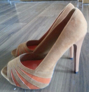 Qupid Orange and Tan Heels - New
