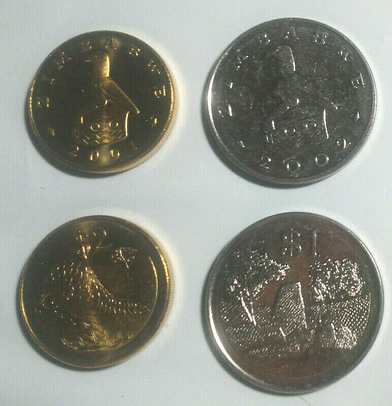 ZIMBABWE UNCIRCULATED VINTAGE LARGE COIN TRIO, $1, $2 & $5 (BIMETAL)