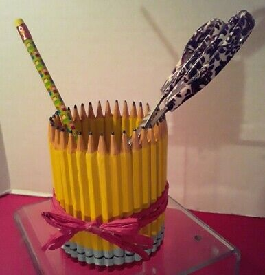 Pencil Pencil Cup 4 12 T X 3 12 Dia Wred Rafia Trim By Ganz Teacher Desk