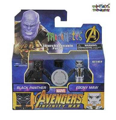 Marvel Minimates Toys R Us Avengers Infinity War Movie Black Panther & Ebony Maw
