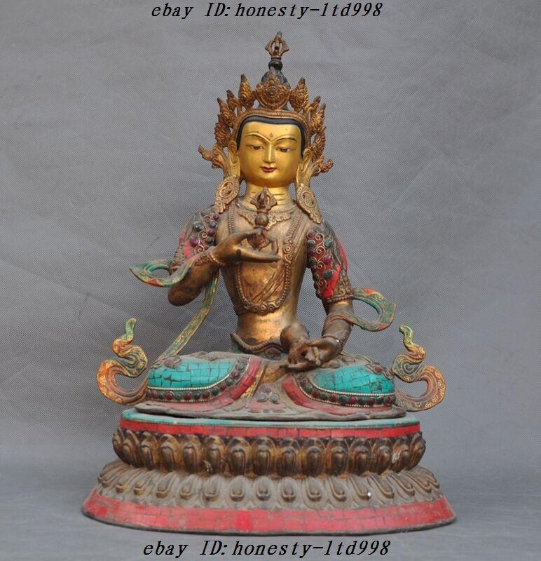 Huge Old Tibet Bronze Gilt Vajra Goddess Vajrasattva Kwan-yin Guanyin Sculpture