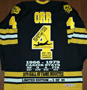 BOBBY ORR BRUINS LIMITED/ED OF 44 RETIRE BANNER CCM STATS JERSEY
