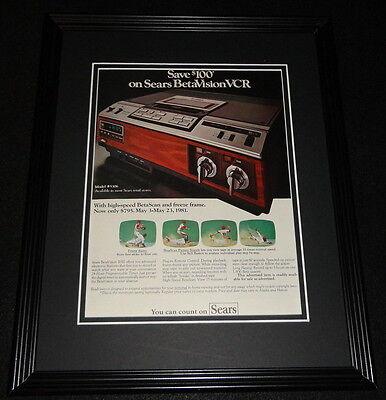 1981 Sears Betavision Vcr 11X14 Framed Original Vintage Advertisement