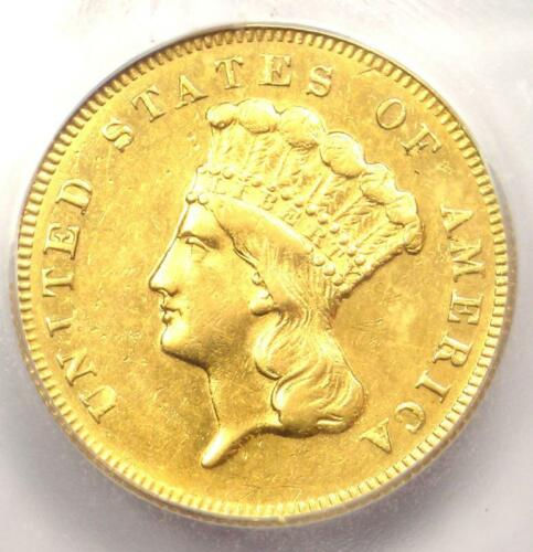 1869 Three Dollar Indian Gold Coin $3 - Certified ICG AU58 - $3,380 Value!