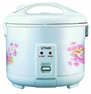 Tiger 5.5 Cup Electric Rice Cooker / Warmer Floral White