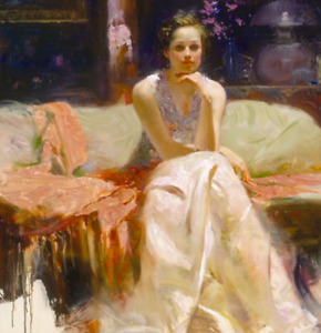 """Pino Daeni, Collector's Painting, """"A Woman of Mystery"""""""