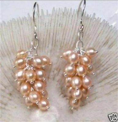 6-7MM Light pink Akoya Cultured Pearl Grape Dangle Earring Silver Hook PE116