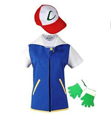 Pokemon Ash Ketchum Jacket+Gloves+Hat Trainer Costume Hallowee Cosplay Shirt US - Pokemon Ash Costume
