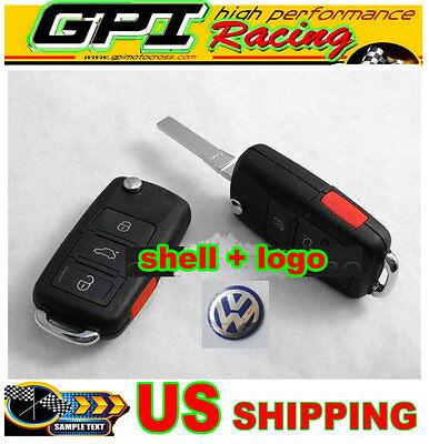 3+1 Remote Key Case Shell VW BEETLE JETTA PASSAT GOLF Rabbit MK4 MK5 R32 GTI NEW