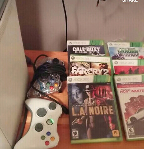 Xbox 360 w games and controllers $ 80.00
