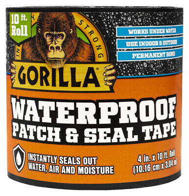 New Gorilla 4612502 Waterproof Tape Patch And Seal Permanent Bond 4 X 10 Black