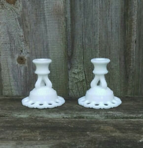 Vintage Lace Edged Milk Glass Candlestick Holder-Weddings