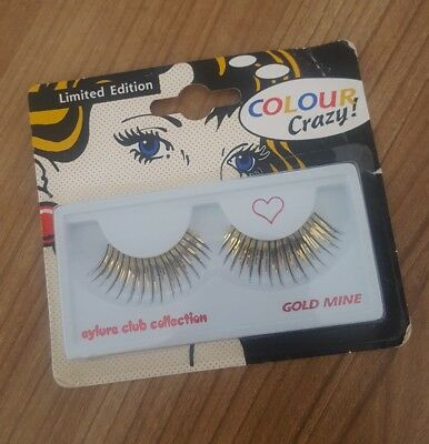 GOLD FALSE EYE LASHES EYLURE CLUB COLLECTION GOLD MINE CRAZY FANCY DRESS X6 - Crazy Lashes