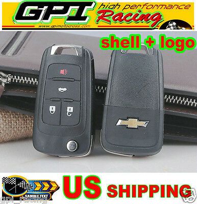 4Buttons Flip Key Shell for chevy Remote key Case Sonic/Spark/Volt/Camaro/Cruze