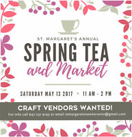 CRAFTERS WANTED! - Spring Tea & Craft Market