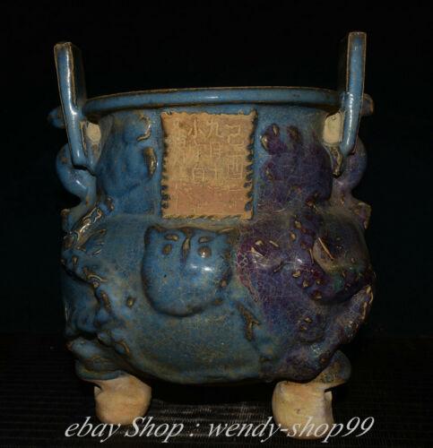 """10"""" Marked Old China Jun Kiln Porcelain Palace Word Incense Burner Censer"""