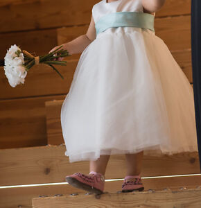 Flower Girl Dress with Mint Sash (Size 24 months)