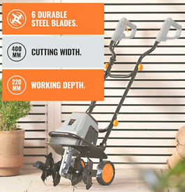 VonHaus Electric 1400W Tiller - Garden Soil Cultivator/Rotavator