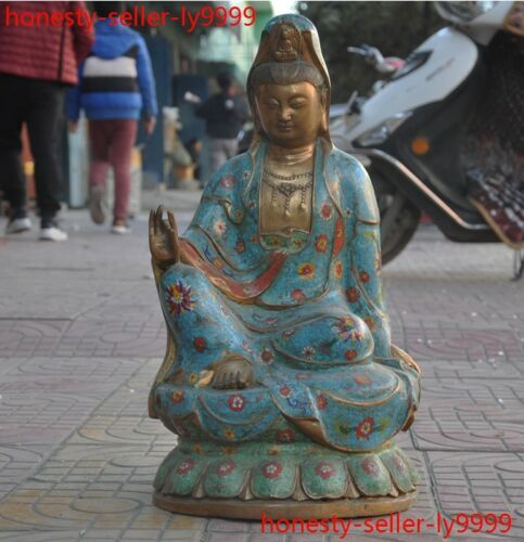 old Tibetan Buddhism bronze Cloisonne Kwan-Yin Guanyin Bodhisattva Buddha statue